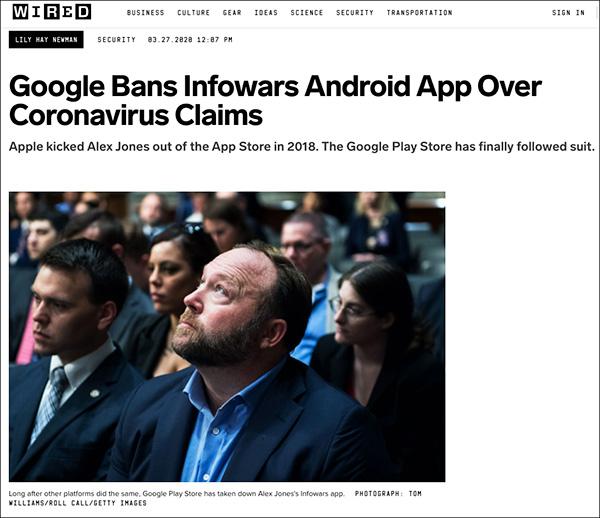 Alex Jones Responds: Google Bans Infowars App from Play Store