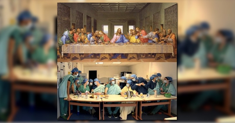 Nurses at Hospital in Paris Re-Create 'Last Supper' With Themselves as Jesus and His Apostles