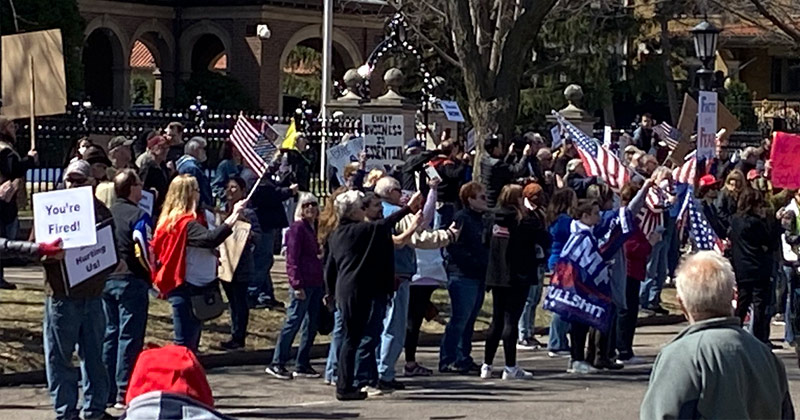 Watch: Protesters Surround Governor's Home With Support of President Trump