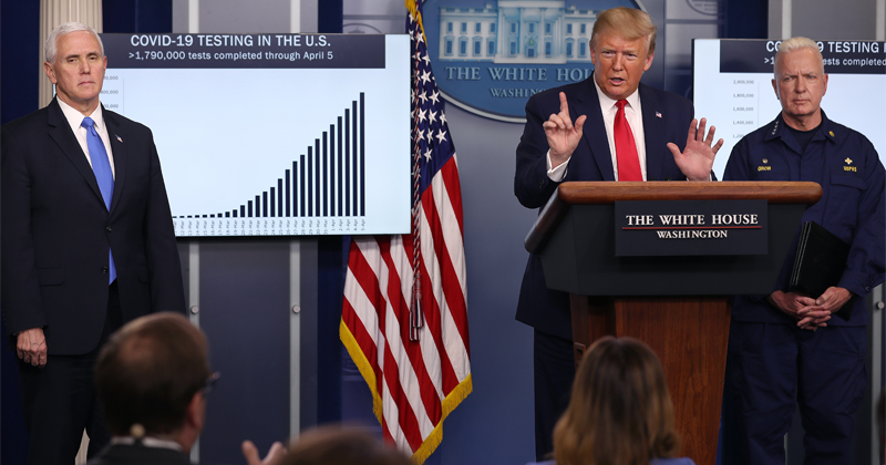 """Watch: Trump Praises Americans' Grit During """"Painful"""" Week  -- April 7th"""