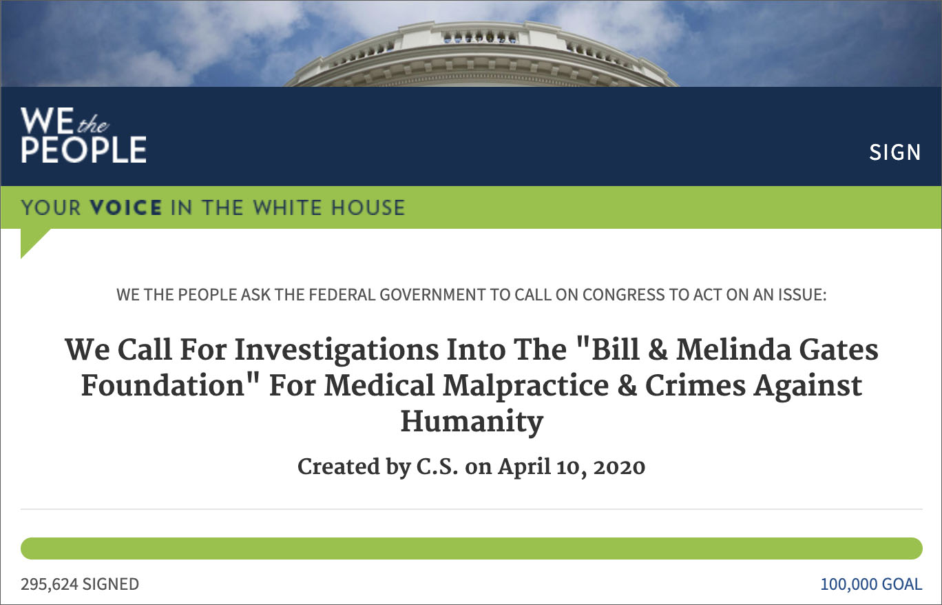 White House Petition Passes 100K Signature Threshold To Have Bill & Melinda Gates Foundation Investigated For Connections To Wuhan Outbreak