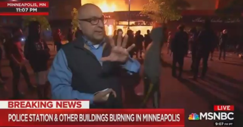 """MSNBC Reporter Claims """"Protests"""" Aren't """"Unruly"""" as Building Literally Burns Behind Him"""