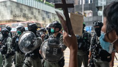 Riot Police Blockade Hong Kong Legislature Ahead of Debate on Chinese National Anthem
