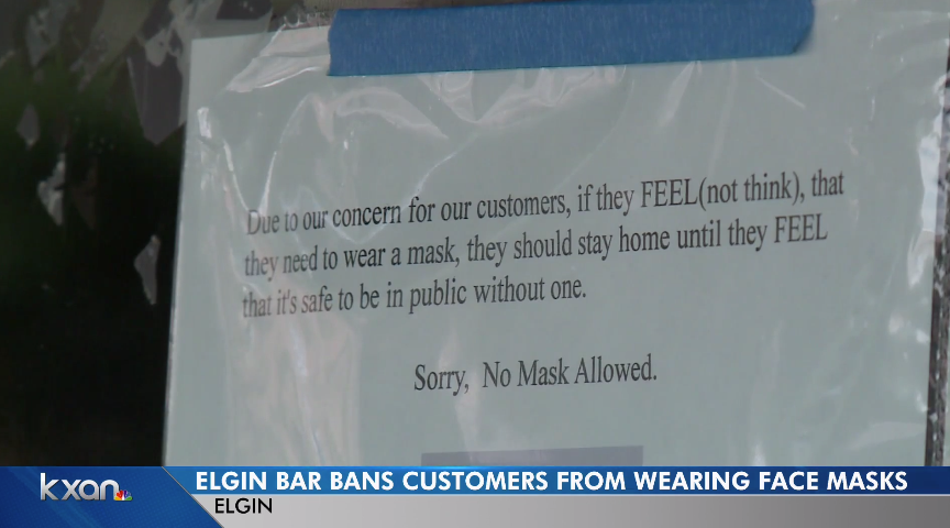 Texas Bar Bans Customers From Wearing Masks
