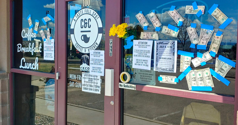 Donations Taped to Window of Coffee Shop Ordered Closed by Governor
