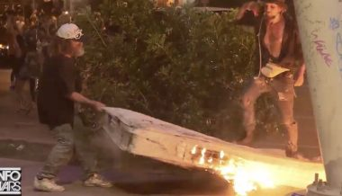 Shock Video: Antifa Sets Homeless Man's Mattress On Fire During Austin Riots
