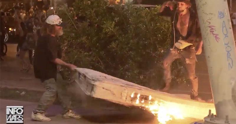 Shock Video: Antifa Sets Homeless Man's Mattress On Fire During Austin Riots