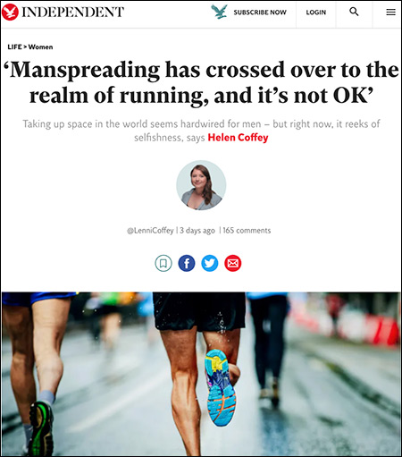 """Writer Complains """"Manspreading"""" Joggers Violate Social Distancing Guidelines"""