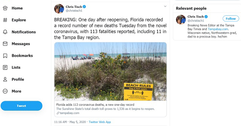Media: It Only Took One Day For Mass Death to Strike In Florida After Reopening