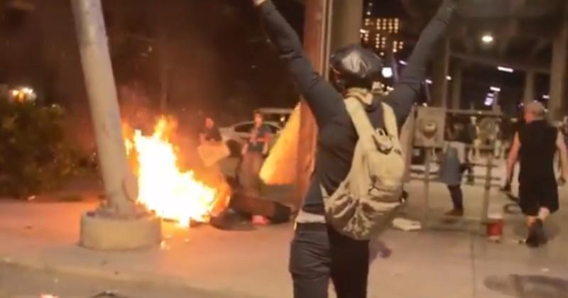 Antifa Rioters Set Homeless Veteran's Mattress on Fire, Leftists Blame Infowars Crew Who Filmed It