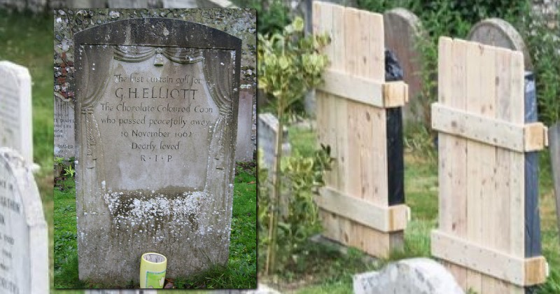 """""""Offensive"""" Gravestones at UK Cemetery Covered Up With Wooden Pallets"""