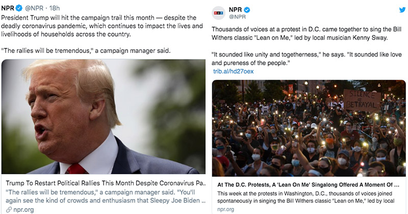 NPR Gushes Over Massive Protests While Claiming Trump Rallies Are Dangerous Due To COVID-19