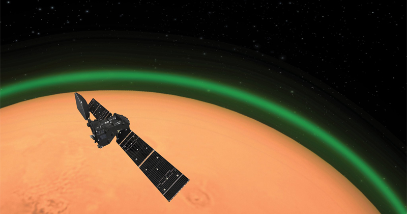 Glowing Green Oxygen Aura Detected in Mars' Atmosphere
