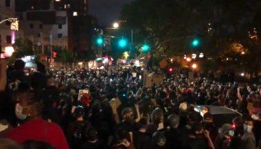 NYC Protest Crowd Chants 'De Blasio, Resign'