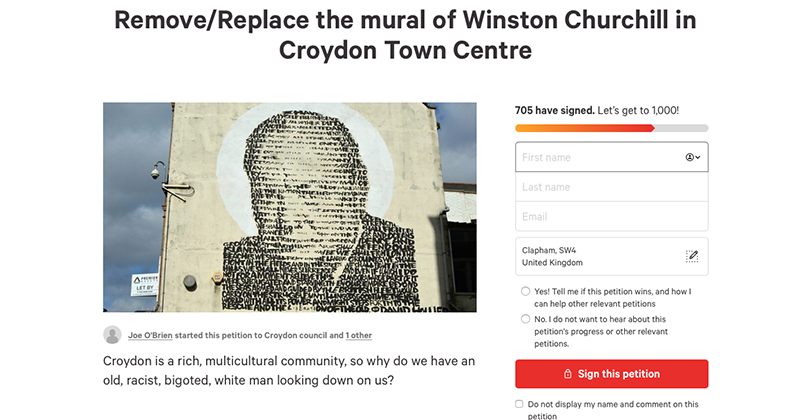 London Councillor Promotes Petition To Remove Churchill Mural