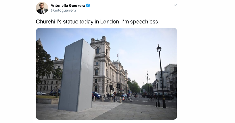 Churchill, Washington Statues And Cenotaph War Memorial Boarded Up In London