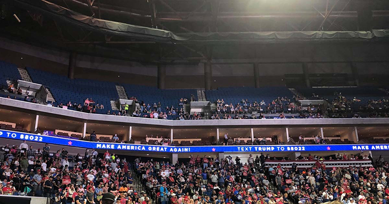 EXCLUSIVE PHOTOS: Trump Rally Attendance Falters, Empty Seats Available Throughout Arena