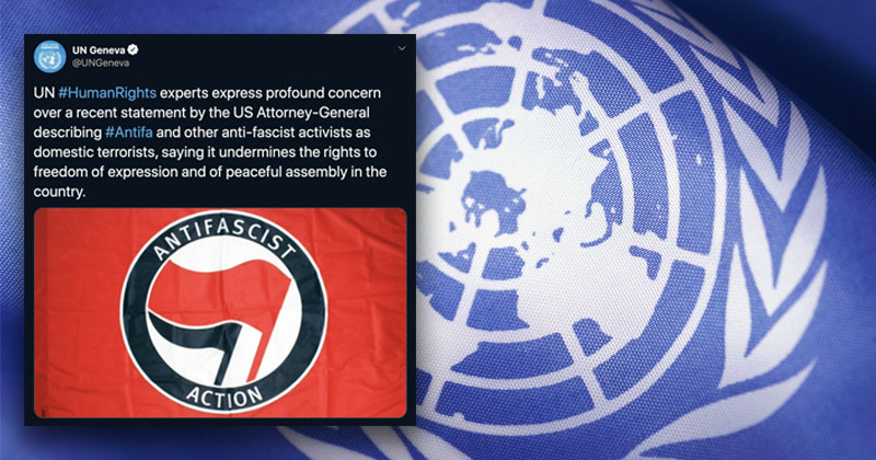 Update: UN Deletes Tweet Defending Antifa Flag, Demanding U.S. Respect Terror Group's 'Right To Peaceful Assembly,' and 'Freedom Of Expression'