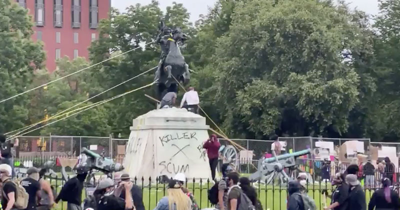 DC Police Tear Gas BLM Rioters Attempting To Topple Andrew Jackson Statue