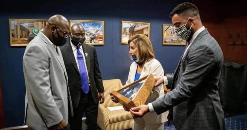 Pelosi Gifts George Floyd's Brother Folded American Flag Reserved Only For Fallen Veterans