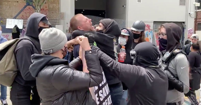 'You're Choking Me!': Antifa Attacks Christian Street Preacher in Seattle 'Autonomous Zone'