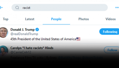 "Searching Twitter For ""Racist"" Returns Donald Trump As Top Result"
