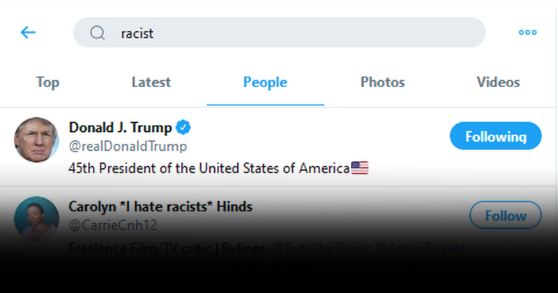 """Searching Twitter For """"Racist"""" Returns Donald Trump As Top Result"""