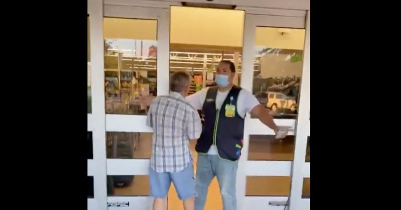 Watch: Walmart Stooge Confronts Mask-less Customer Entering Store