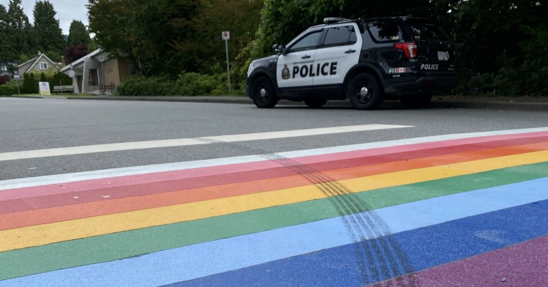 """West Vancouver Police: Driver Carried Out """"Gesture of Hate"""" For Skidding on Pride Crosswalk"""