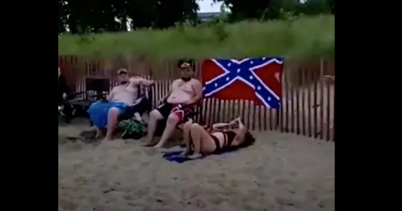Woman Triggered Over Confederate Flag Towel Gets Schooled By Black Military Vet