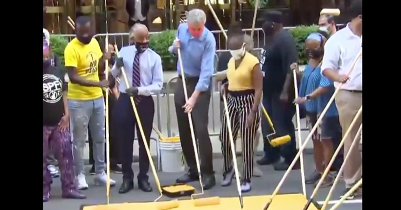 "Watch: Bill de Blasio & Al Sharpton Paint ""Black Lives Matter"" On Street In Front Of Trump Tower"