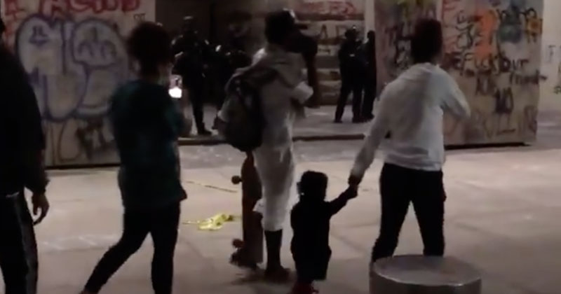 Portland BLM Activist Uses Baby As Human Shield During Violent Protest