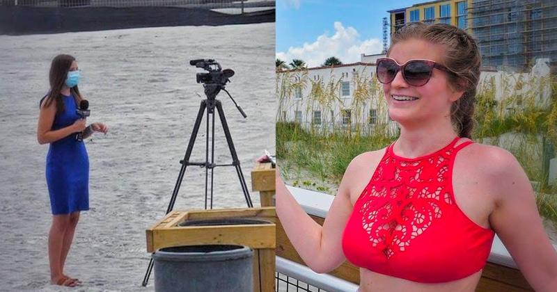 Watch: Reporter Wears Mask on Nearly Empty Beach