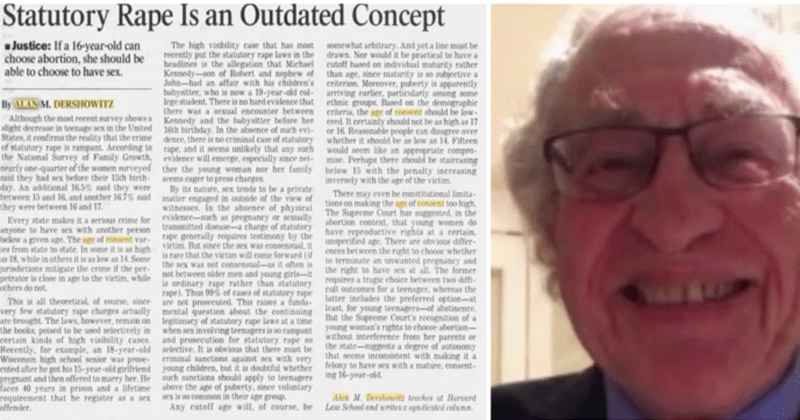 Epstein Lawyer Alan Dershowitz Called for The Lowering of The Age of Consent