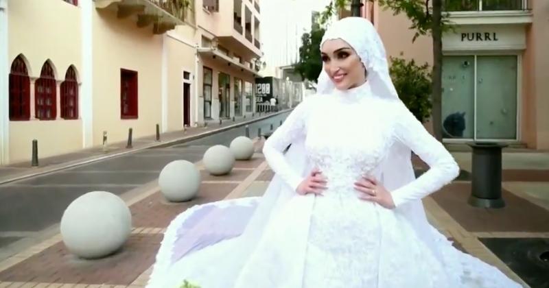 Bridal Shoot Captures Instant Devastation of Beirut Blast