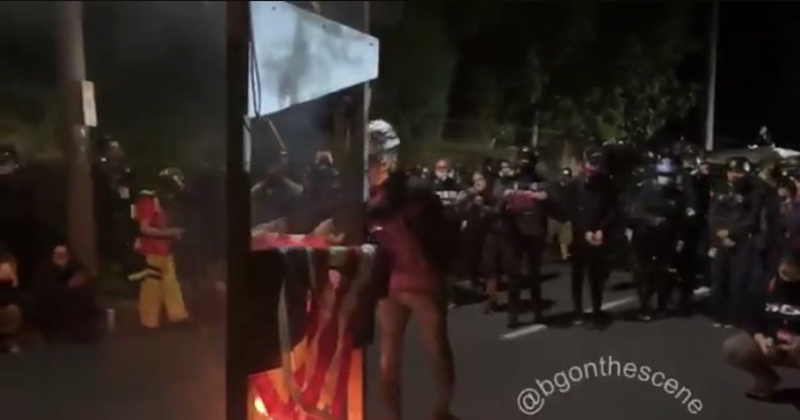 """Video: Portland Rioters Roll out Guillotine, """"Execute"""" American Flags"""