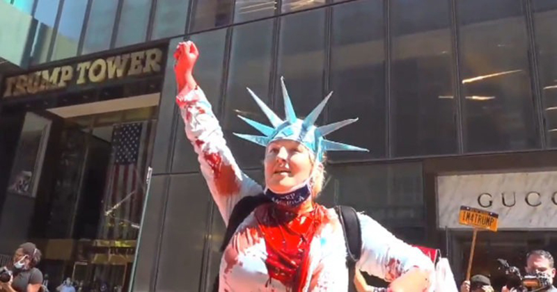 VIDEO: 'Lady Liberty' Covers BLM Street Art In Front Of Trump Tower With Red Paint