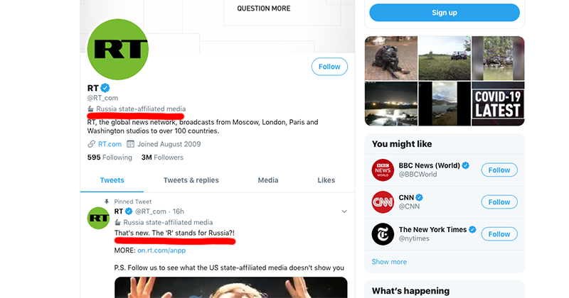 Twitter Labels RT As 'State Affiliated Media', But Ignores BBC, NPR