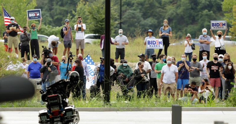 """Few Dozen Supporters Show Up Outside Biden's """"Big Speech"""" in Penn."""
