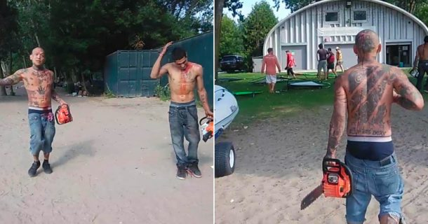 Blood-Soaked Men Terrorize Families With Chainsaws at Toronto Beach