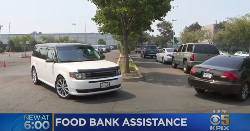 """""""We've never seen anything like this in 35 years"""": Hundreds Line Up Outside Food Banks in California"""