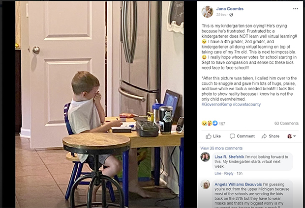 Photo: 5-Year-Old Frustrated to Tears by COVID E-Learning