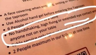 "London Pub Demands ""No Extended Eye Contact"" as Part of Corona Rules"