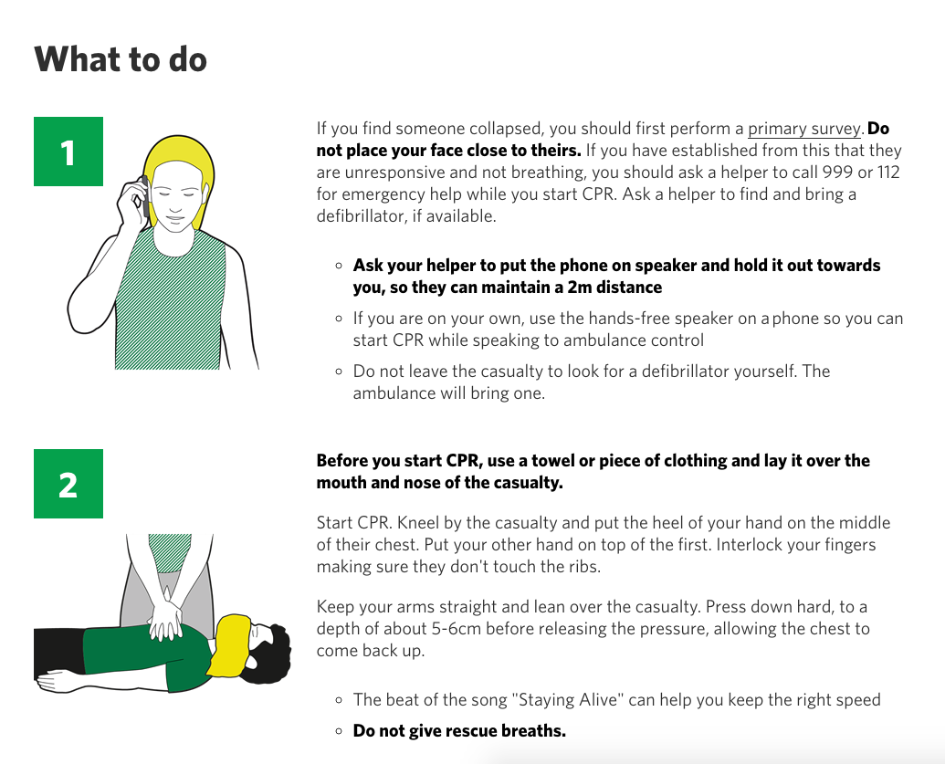 UK COVID CPR Procedure: Place Towel Or Clothing Over Nose and Mouth