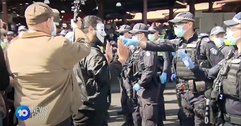 Police put on an extraordinary display of force in Melbourne at anti- lockdown protest