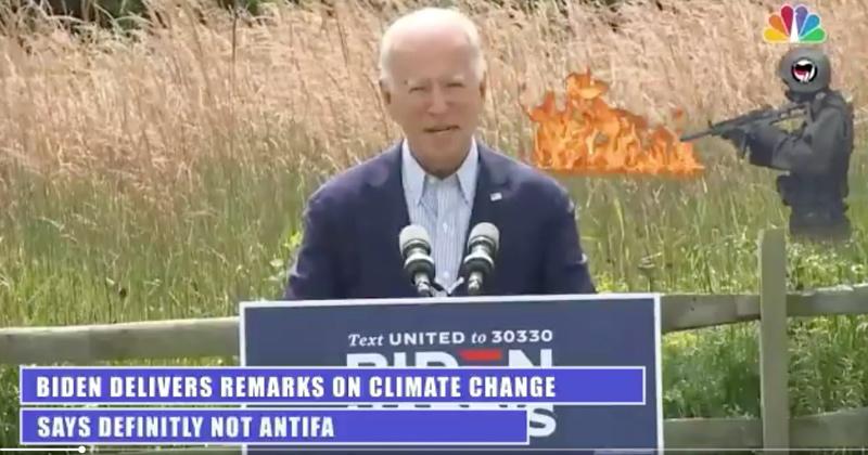 Antifa Sets Fire to Cornfield Behind Joe Biden, In Joke Tweet Shared by Trump