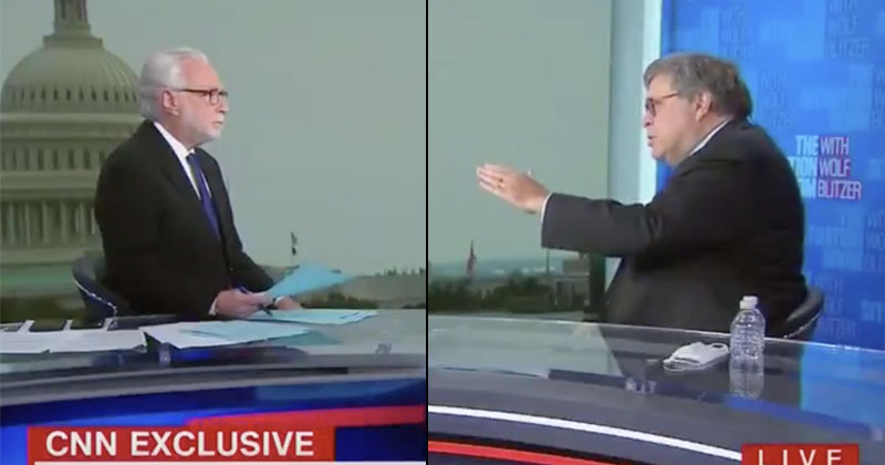 Watch: AG Barr Fed Up With CNN's Wolf Blitzer On Mail-In Voting, Fake News