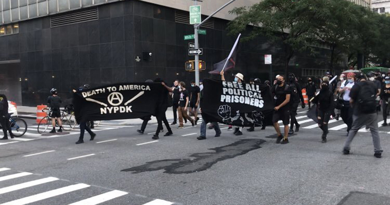 VIDEO: Rioters Chant 'Burn the Precinct to the Ground,' Carry 'Death to America' Banner Through NYC