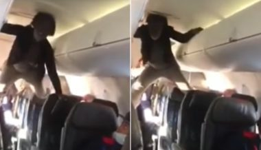 Graphic Video: Woman Aboard Flight Climbs on Seats, Threatens Passengers