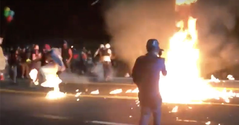 Portland Rioter Throws Molotov Firebomb At Police, Blows Up In His Face